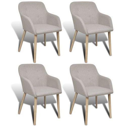 krzesła do jadalni z dębową ramą, 4 szt., materiałowe, beżowe marki Vidaxl
