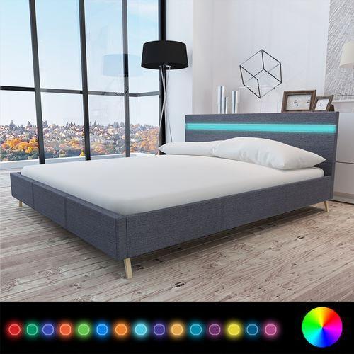 Vidaxl  rama łóżka z materiałowym ciemno szarym obiciem + pas led 200 x 180 cm (8718475933298)
