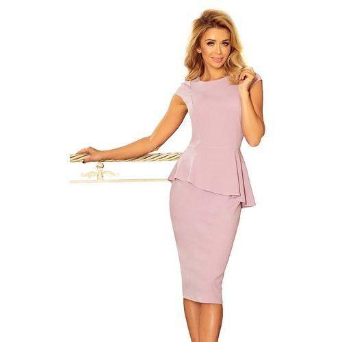 Numoco Różowa elegancka ołówkowa sukienka midi z asymetryczną baskinką
