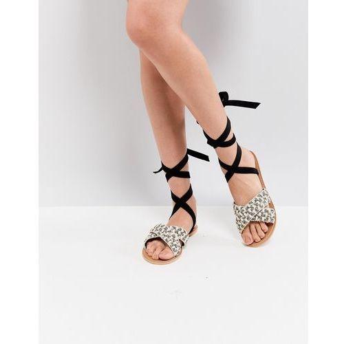 Glamorous Woven Raffia Ankle Tie Flat Sandal - Black, kolor czarny