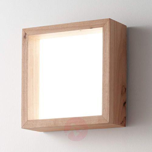 Kwadratowy kinkiet LED Buchi, drewno dębowe