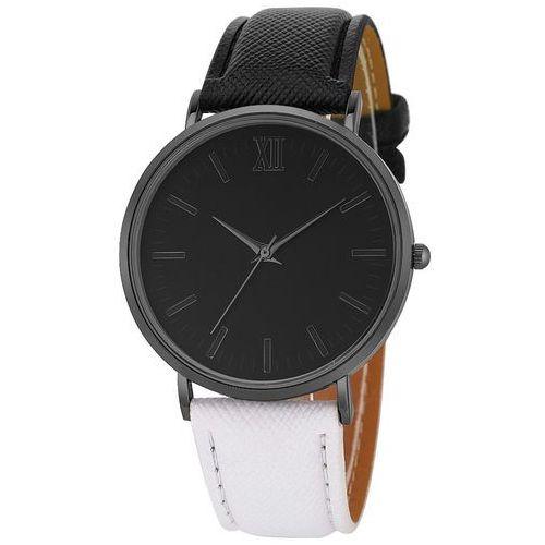 Zegarek damski męski simple klasyczny czarny biały - black white marki Iloko