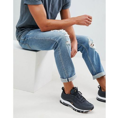 River island regular fit jeans with rips in light wash blue - blue