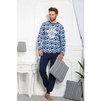 Piżama Taro Max N.372 L-2XL dł/r XXL, beżowy melange-chabrowy. Taro, 2XL, XL, XXL, 5902192035813