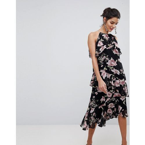 floral high neck midi dress with ruffles - multi, Y.a.s, 36-40