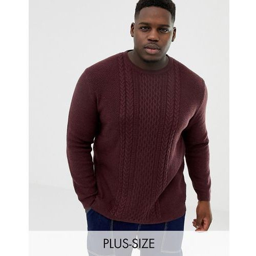 plus knitted jumper in cable knit in red - red marki Tom tailor