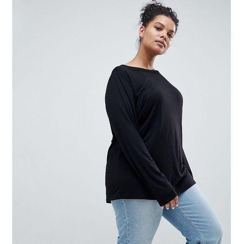 ASOS DESIGN Curve T-Shirt With Longline Sleeve In Lightweight Jersey - Black, kolor czarny