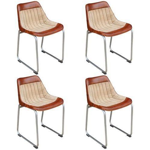 Krzesła do jadalni 4 szt. prawdziwa skóra i płótno, brąz i beż