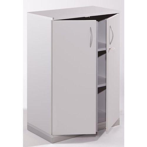 Fm büromöbel Thea - szafka z drzwiami skrzydłowymi, 2 półki, 3 wys. segregatora, jasnoszary.