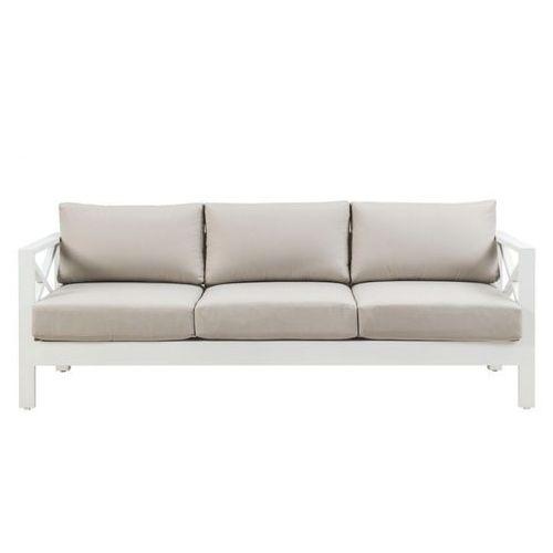 Sofa 3-osobowa i stolik kawowy SERAM z białego aluminium i poduszki w kolorze taupe
