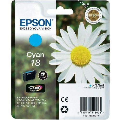 Epson  18 ink cartridge cyan standard capacity 3.3ml 180 pages 1-pack blister without alarm