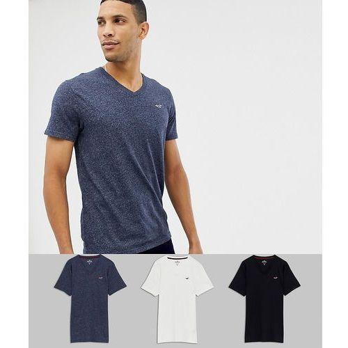 3 pack v-neck t-shirt seagull logo slim fit in black/grey/navy - multi, Hollister, XS-XXL