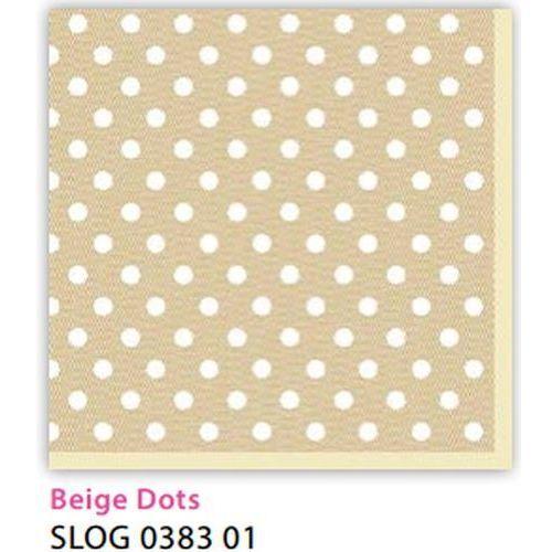 Serwetki 33 x 33 cm SLOG 038301 Kropki białe na beżowym tle