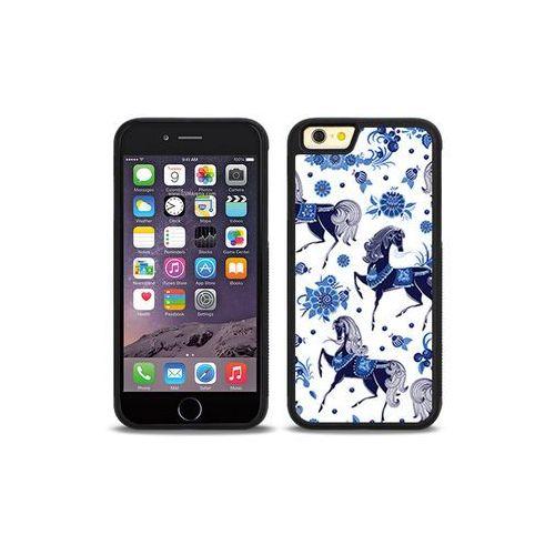 Apple iPhone 6s - etui na telefon Aluminum Fantastic - folkowe niebieskie konie, kolor niebieski