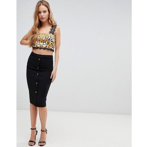 Boohoo button down midi skirt in black - Black