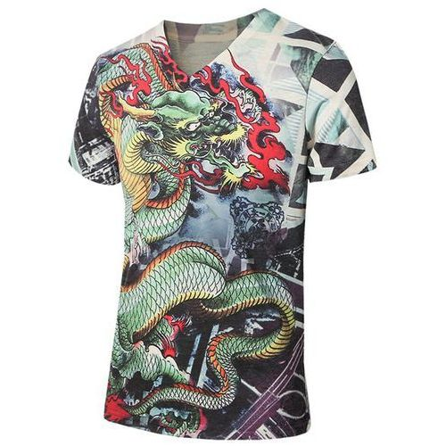 Plus Size V-Neck 3D Dragon Print Short Sleeve T-Shirt For Men