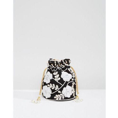 Park lane embroidered hand made drawstring mini bag - black