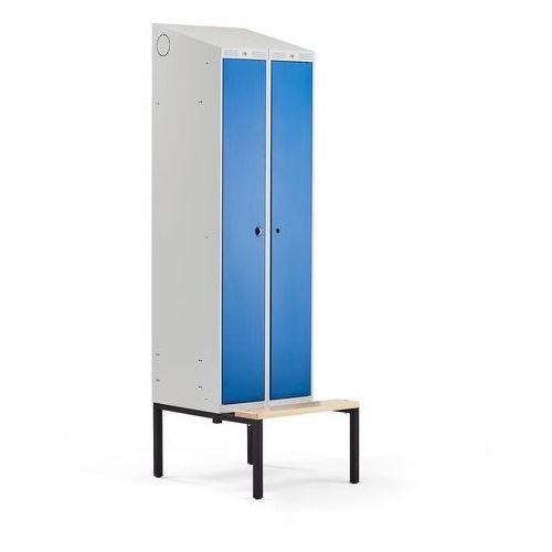 Aj produkty Szafa ubraniowa classic combo, z ławeczką, 2 drzwi, 2290x600x550 mm, niebieski