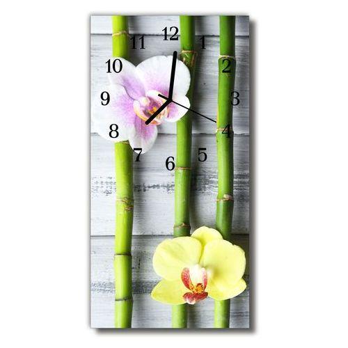 Tulup.pl Zegar szklany pionowy kwiaty bambusowy storczyk kolorowy