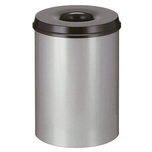 Kosz na papier, samogaszący, poj. 30 l, korpus srebrne aluminium / głowica gaszą marki Vepa bins