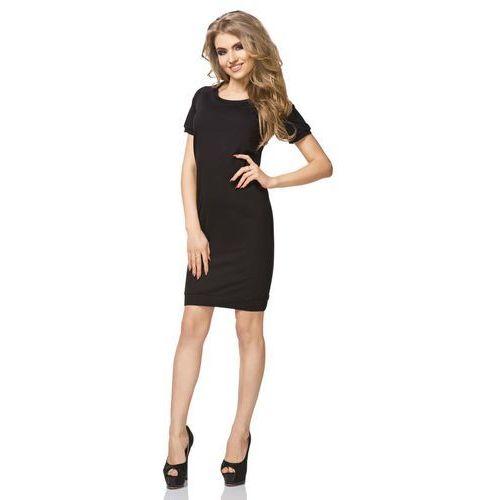 Czarna Sukienka Sportowa Dzianinowa z Krótkim Rękawem, kolor czarny