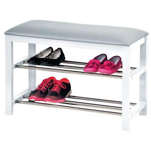 Biała szafka na buty z siedziskiem, siedzisko do przedpokoju, komoda na buty, drewniana szafka na buty, regał na buty, Kesper - OKAZJE