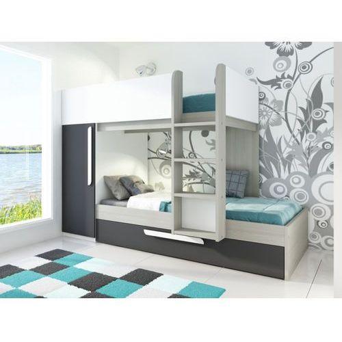 Łóżko piętrowe ANTONIO z wysuwaną szufladą – 3 × 90 × 190 cm – szafa – kolor drewna sosnowego, antracytowy i biały