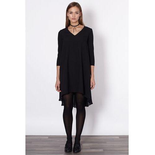 Click fashion Czarna sukienka z plisowaniem -