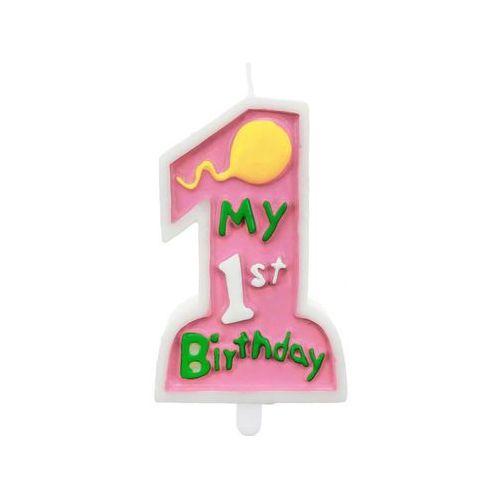 Świeczka My 1st Birthday różowa