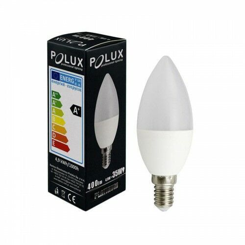 Żarówka POLUX LED 5W 35W gwint E14 400lm ciepła/żółta barwa światła POLUX/SANICO