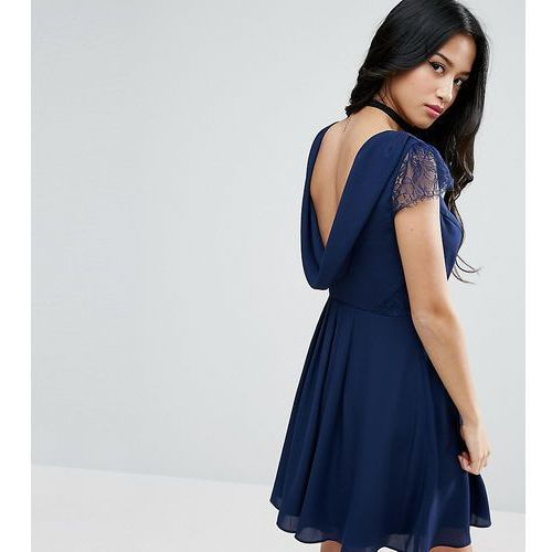 ASOS PETITE Occasion Lace Cowl Back Mini Dress - Navy