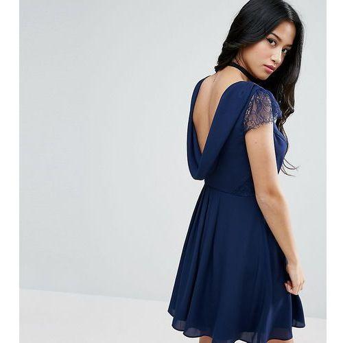 occasion lace cowl back mini dress - navy marki Asos petite