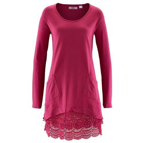 Tunika shirtowa z koronką, długi rękaw jeżynowo-czerwony, Bonprix, 36-50