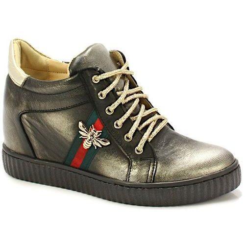 TYMOTEO 2809 CZARNE ZŁOTE - Sneakersy z koturną - Czarny ||Złoty