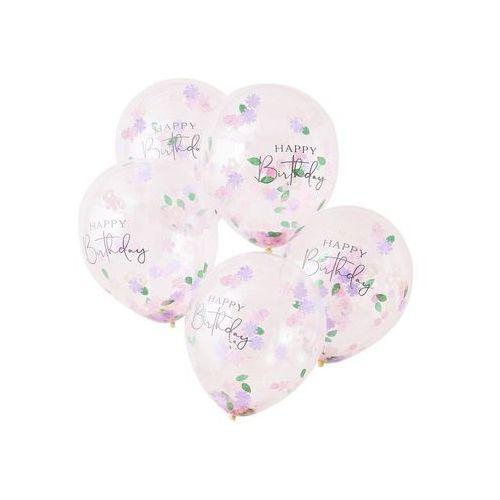 Balony lateksowe z nadrukiem Happy Birthday i kwiatowym konfetti - 30 cm - 5 szt.