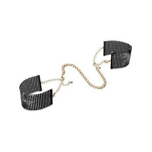 Kajdanki z łańcuszkiem w złotym kolorze czarne | 100% dyskrecji | bezpieczne zakupy marki Bijoux indiscrets (sp)