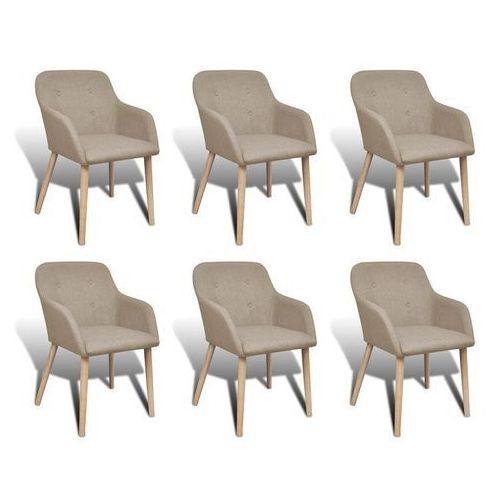 Krzesła do jadalni z dębową ramą, 6 szt., materiałowe, beżowe, kolor beżowy