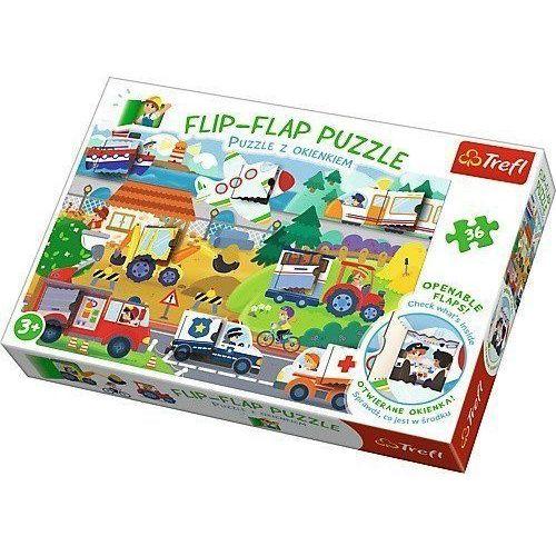 Trefl Flip-flap puzzle z okienkiem 36 pojazdy