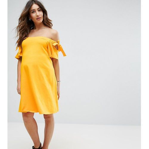off shoulder dress with with tie sleeve detail - yellow marki Asos maternity
