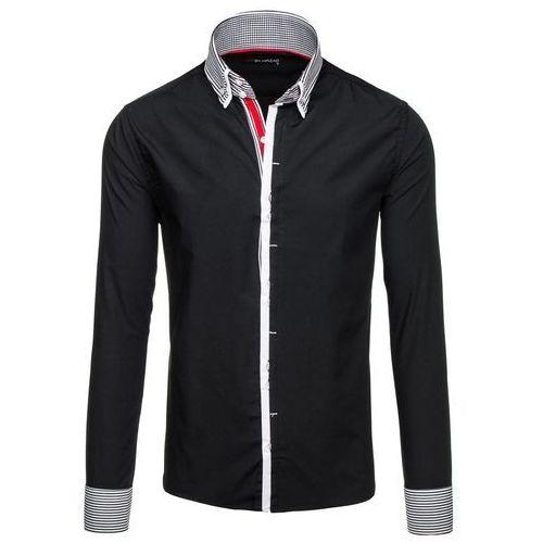 Czarna koszula męska elegancka z długim rękawem Denley 5727 - CZARNY, kolor czarny