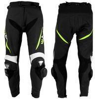 Męskie motocyklowe spodnie skórzane W-TEC Vector, Czarny-fluo, 3XL, 1 rozmiar