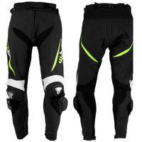 Męskie motocyklowe spodnie skórzane W-TEC Vector, Czarny-fluo, S, kolor czarny