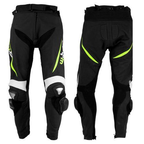 Męskie motocyklowe spodnie skórzane W-TEC Vector, Czarny-fluo, M