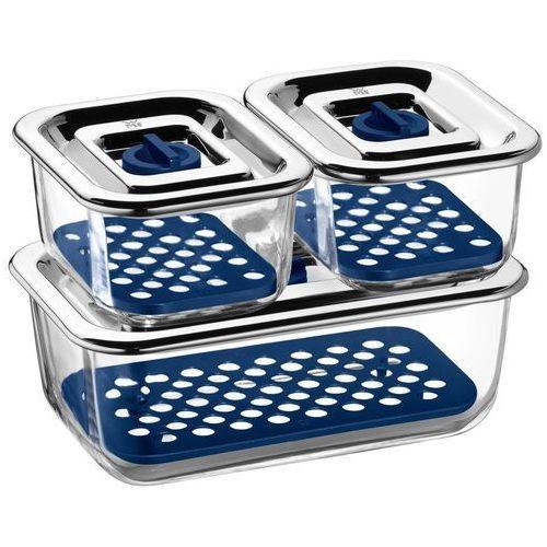 WMF Top Serve prostokątne zestaw puszki na zapasy ze szkła, z zamkiem Feeding zbieżnych miski do przygotowywania, przechowywania i podawania i szczelną pokrywą z zaworem świeże, 3-częściowy (4000530659927)