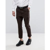 tapered fit heritage cargo trousers in wool look - brown, Asos