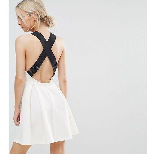 ASOS PETITE Premium Pinafore Dress with Wide Elastic Straps - Cream