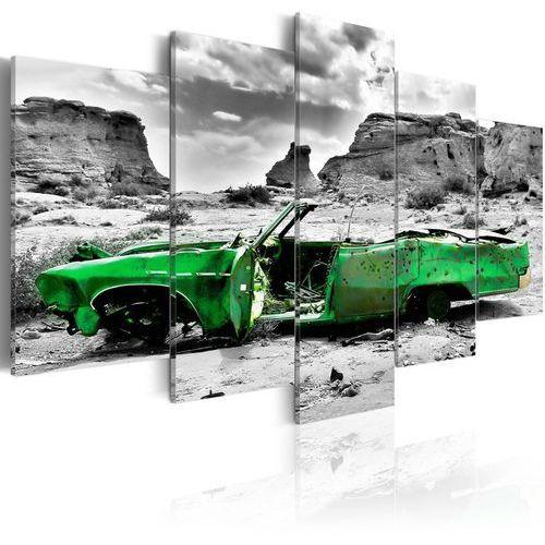 Artgeist Obraz - zielony samochód w stylu retro na pustyni kolorado, kategoria: fototapety