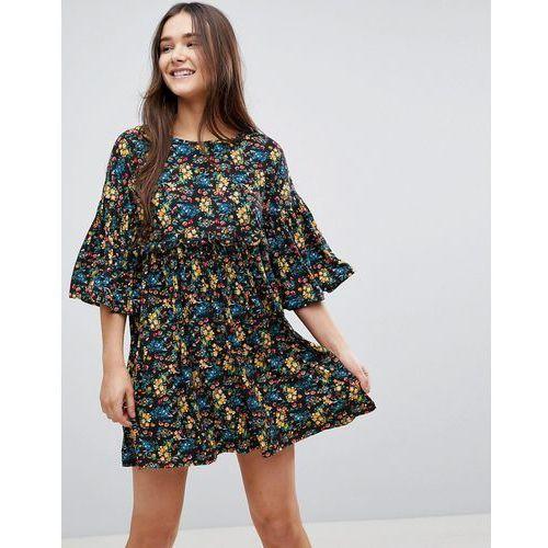 QED London Floral Smock Dress With Frill - Black, w 3 rozmiarach