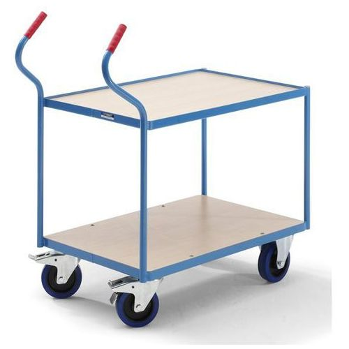 Eurokraft Przemysłowy wózek stołowy, 2 piętra, wys. pięter: 235 / 765 mm. nośność 400 kg.