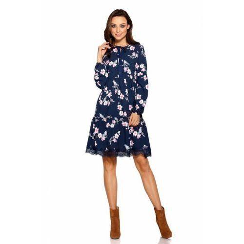 816ec03a4a Lemoniade Trapezowa sukienka z nadrukami L288 granatowy w kwiatki